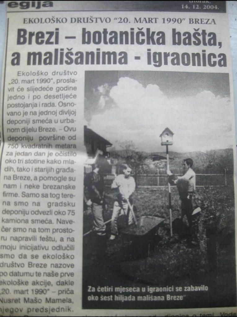 Novinski članak o izgradnji botaničke bašte, koja je izgrađena na inicijativu Mamela Nusreta-Maše